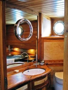 timber bathroom in dutch barge