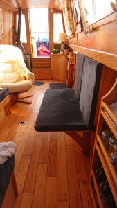 Space saving bench for narrow boat